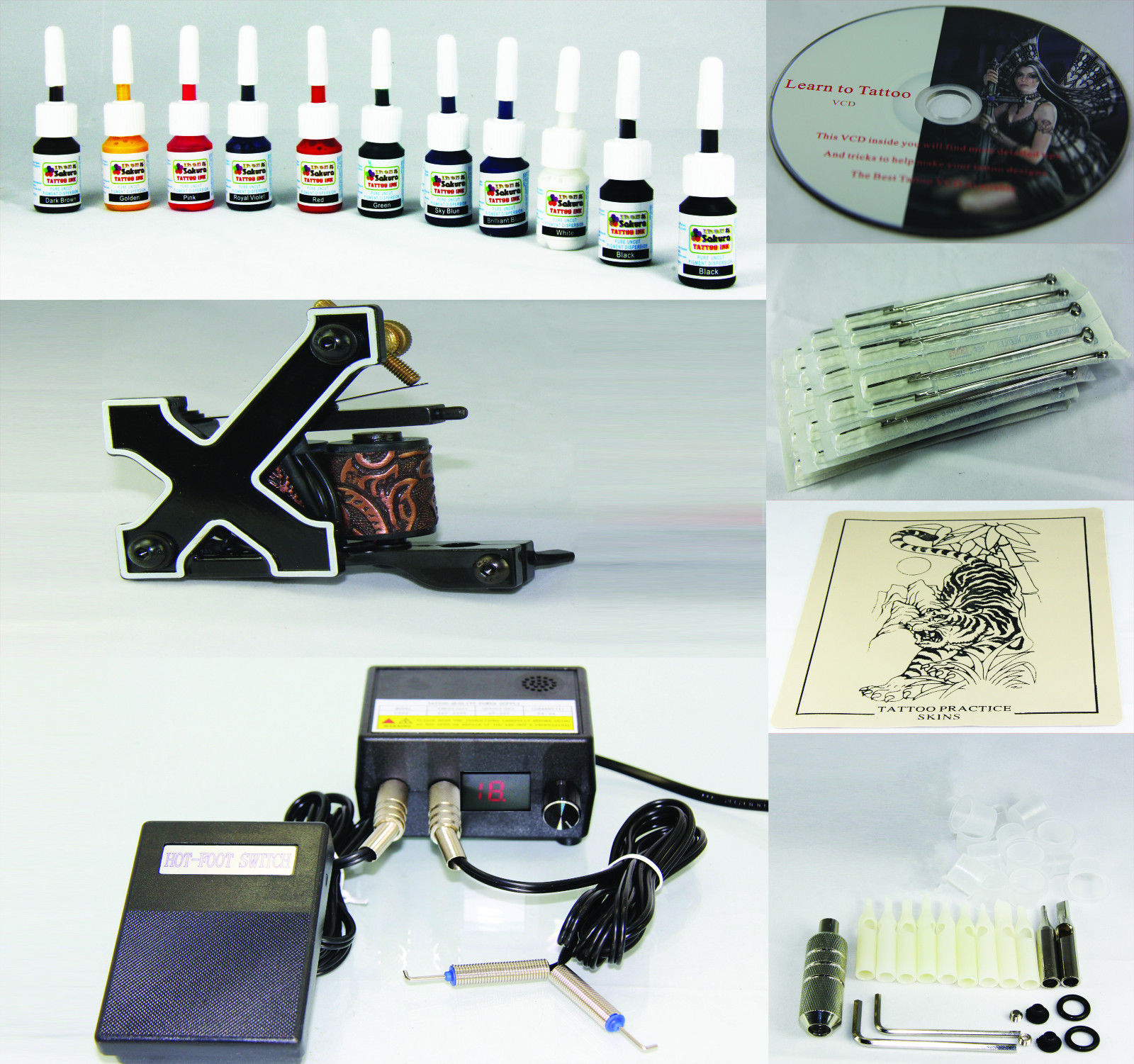 Complete Tattoo Kit Machine Gun 11 Color Inks Needles T1