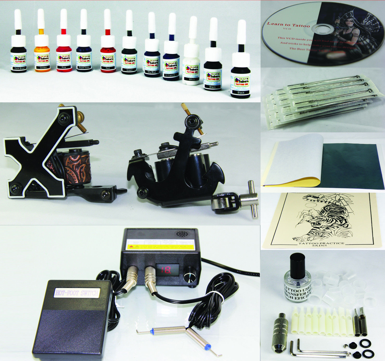 Complete Tattoo Kit Machine Gun 11 Color Inks Needles T2