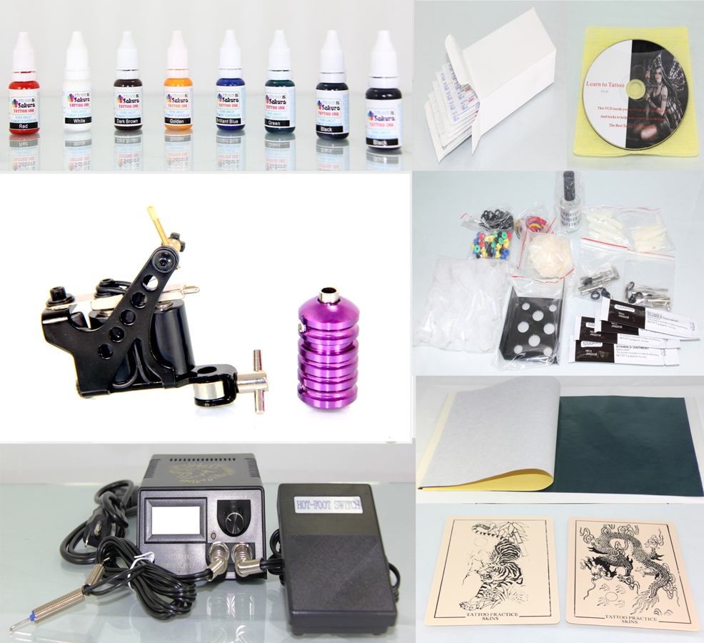 Tattoo Kit with Machine Gun Power Supply 50 Needles + 8 Inks K01