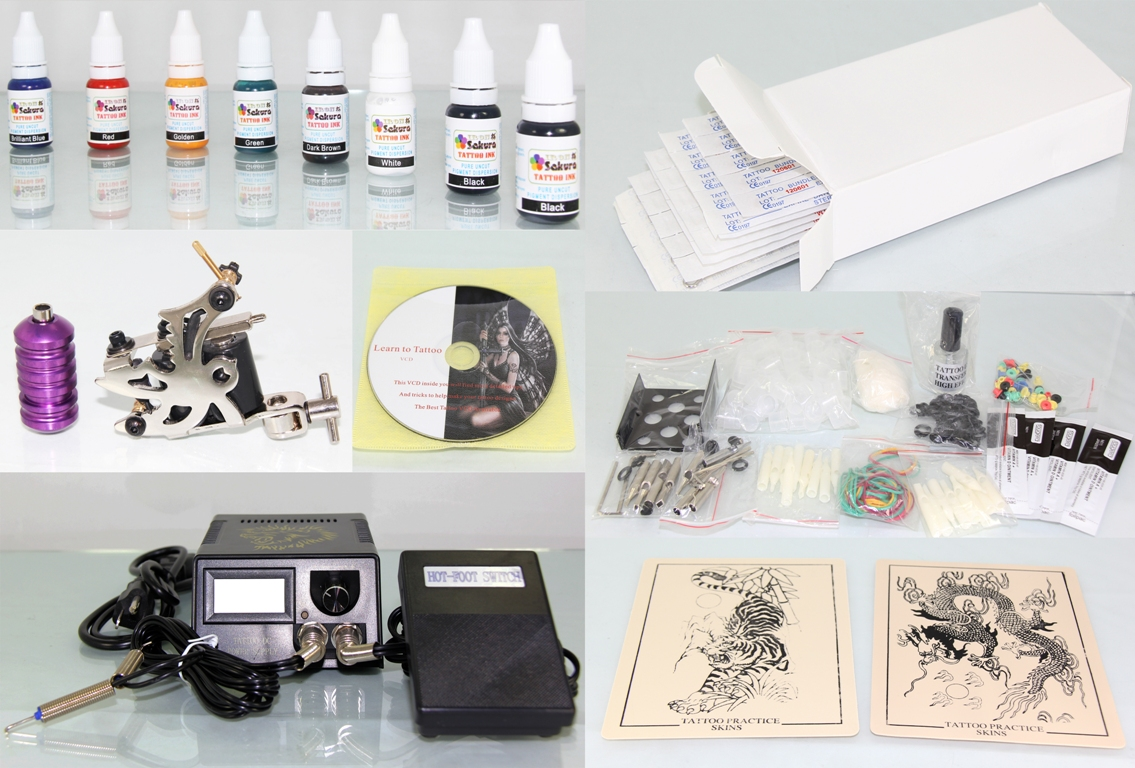 Tattoo Kit with Machine Gun Power Supply 50 Needles + 8 Inks K1A