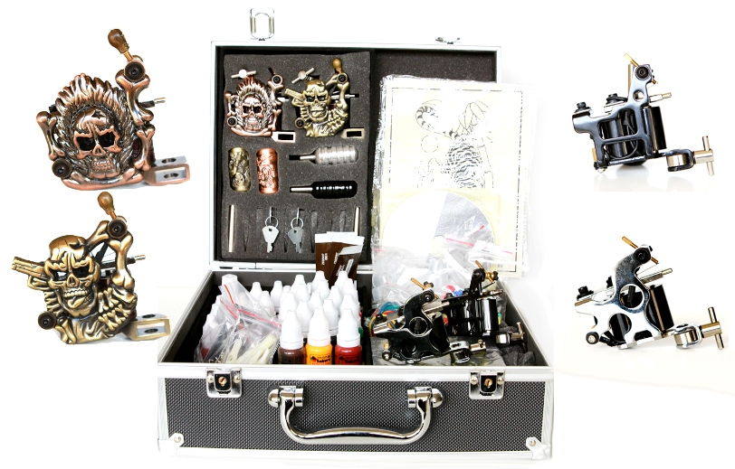 Pro Tattoo Kit, 4 Guns, 30 Inks, Power Supply, Needles... K06