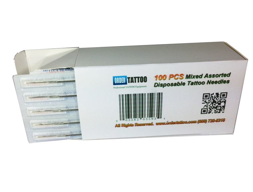 100 Pcs Mixed Assorted Disposable Tattoo Needles